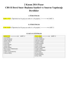 2 Kasım 2014 Pazar CBS II Dersi Sınav Başlama Saatleri ve Sınavın