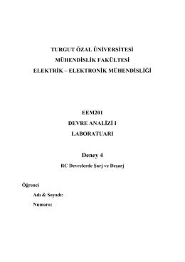 Deney 4 föyü - Turgut Özal Üniversitesi