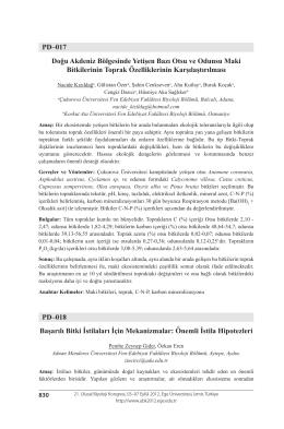PD–017 Doğu Akdeniz Bölgesinde Yetişen Bazı Otsu ve Odunsu