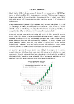 IFCN Nisan-2014 Bülteni Çiğ süt fiyatları 2013 yılında aşamalı