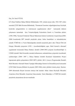 Doç. Dr. Seral YÜCEL Çukurova Üniversitesi Adana Biyolojik