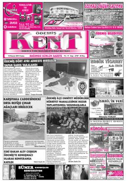 14-11-2014 Tarihli Kent Gazetesi