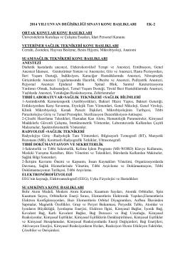 2014 YILI UNVAN DEĞİŞİKLİĞİ SINAVI KONU BAŞLIKLARI EK