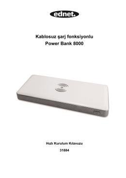 Kablosuz şarj fonksiyonlu Power Bank 8000