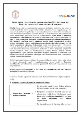 İzmir Esnaf Ve Sanatkarlar Odaları Birliği Ve Ing Bank A.Ş. İşbirliği