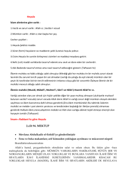 Heyula İmam-ı Rabbani hz göre Heyula 2.cilt 94. MEKTUP