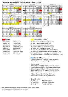 Matfen Dershaneleri 2014 - 2015 Akademik Takvim / 7. Sınıf