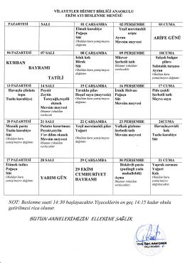 Ekim 2014 Beslenme Listesi