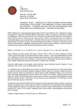 Esas No: Karar No: YARGITAY Ceza Genel Kurulu 2012/2