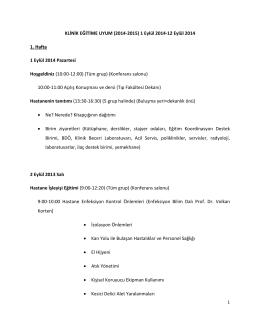 KLİNİK EĞİTİME UYUM (2014-2015) 1 Eylül 2014