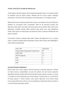 TEMEL İNGİLİZCE HAZIRLIK PROGRAMI Temel İngilizce Hazırlık