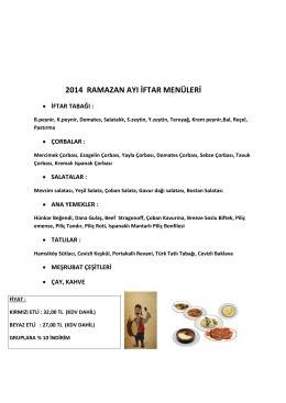 2014 ramazan ayı iftar menüleri