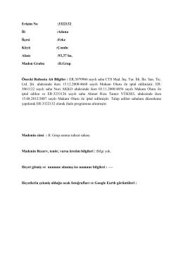 Erişim No :3322132 İli :Adana İlçesi :Feke Köyü :Çondu Alanı :93,37