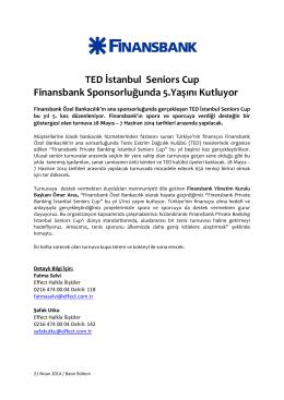 TED İstanbul Seniors Cup Finansbank Sponsorluğunda 5.Yaşını
