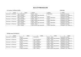 2014-2015 Eğitim Öğretim Yılı Kulüp Programı