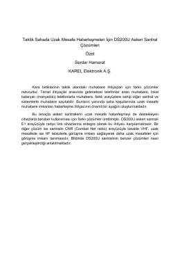 Taktik Sahada Uzak Mesafe Haberleşmeleri İçin DS200U Askeri