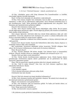 HIZLI OKUMA (Sınav Kaygısı Terapileri