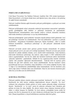 PSİKİYATRİ ANABİLİM DALI Celal Bayar Üniversitesi Tıp Fakültesi