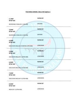 İTALYANCA-ikinci dil İngilizce
