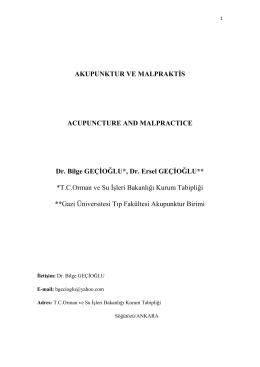 Akupunktur ve Malpraktis - Adli Bilimler Enstitüsü