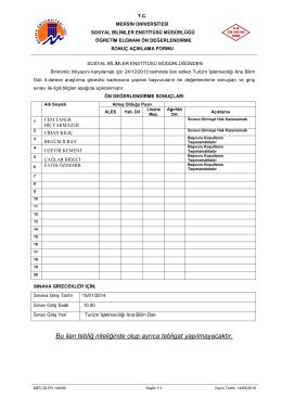 Mersin Meslek Yüksekokulu Yönetim Kurulunun 14/11/2008 tarih ve