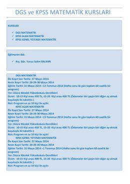 DGS ve KPSS MATEMATİK KURSLARI - Düzce Üniversitesi