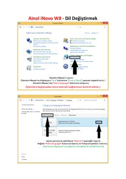 Ainol iNovo W8 - Dil Değiştirmek (Resimli Anlatım