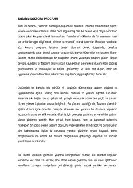 """TASARIM DOKTORA PROGRAMI Türk Dil Kurumu, """"tasarım"""