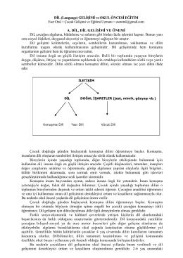 DİL (Language) GELİŞİMİ ve OKUL ÖNCESİ EĞİTİM Eser Oral