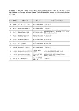 Hâkimler ve Savcılar Yüksek Kurulu Genel Kurulunun 19.03.2014