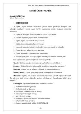 Etkili Öğretmenlik / Ahmet ÇAĞLAYAN
