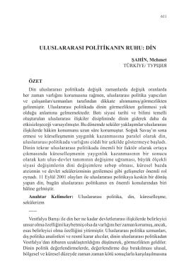 ŞAHİN, Mehmet-ULUSLARARASI POLİTİKANIN RUHU: DİN