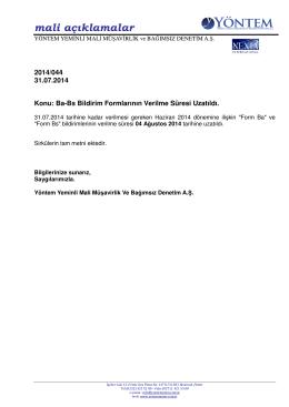 2014-044 Ba-Bs Bildirim Formlarının Verilme Süresi Uzatıldı