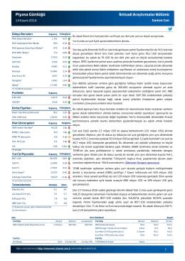 Piyasa Günlüğü - Türkiye İş Bankası