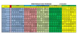 öğretmenler ders proğramı 17.02.2014