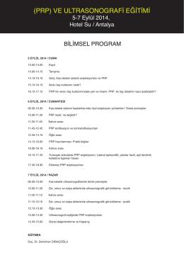 PRP Eğitimi 5-7 Eylül Programı
