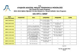 101-DTİ 2. SINIF - Ataşehir Adıgüzel Meslek Yüksekokulu