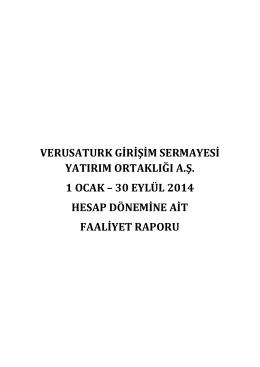 Verusaturk 30.09.2014 Faaliyet Raporu