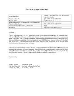Özel Durum Açıklama Formu 25 Şubat 2014