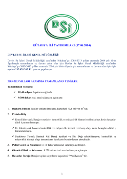 DSİ Genel Müdürlüğü Kütahya Yatırımları