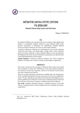 Nikpur CABBARLI – Müseyib [Musa Eyüp] Zeyem ve Şiirleri