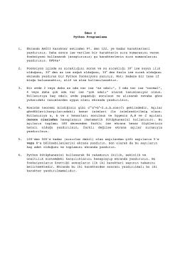Ödev 3 Python Programlama 1. Ekranda ASCII karakter setinden 97