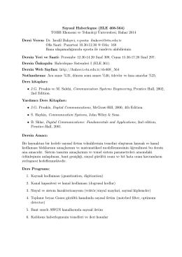 Sayısal Haberleşme (ELE 468-564) TOBB
