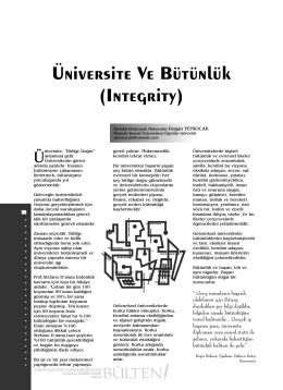 Üniversite Ve Bütünlük (Integrity)