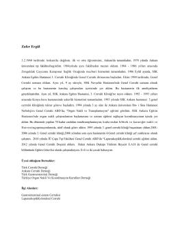 Doç. Dr. Zafer Ergül - Ankara Cerrahi Derneği