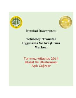 temmuz-ağustos ayı açık çağrılar - İstanbul TTM