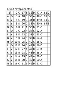 6.sınıf cevap anahtarı 1 2C 17B 32D 47A 62C A D 3A 18B 33A 48C
