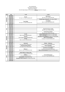 Gün Saat I. Sınıf II. Sınıf 08:00-08:50 09:00-09:50 10:00