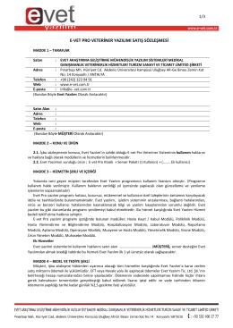 e-vet pro veteriner yazılımı satış sözleşmesi - e
