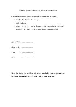 Endüstri Mühendisliği Bölümü Burs Komisyonuna, Genel Burs